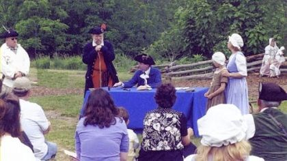 Historic Hanna's Town A 1781 case for child support is re-enacted at Colonial Court Days in 2004.