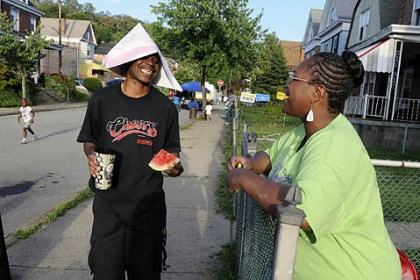 Homewood 4 James Stubbs of Homewood, left, talks with Lawanda Long, one of the organizers from Homewood of their National Night Out.