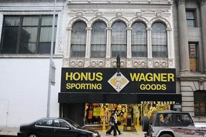 Honus Wagner Sporting Goods store The former Honus Wagner Sporting Goods store on Forbes Avenue.