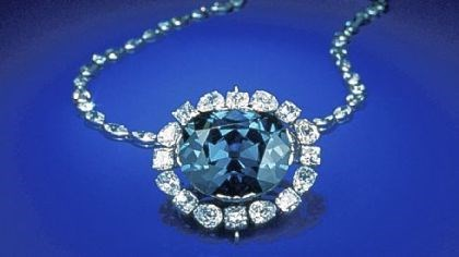 Hope diamond The rare blue 45.50 carat Hope diamond once owned by Louis XIV. Cartier sold it to Evalyn Walsh MacLean in 1910 for $154,000. It is now in the Smithsonian Institution.