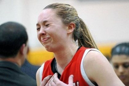 hsgirls Fox Chapel's Erin Mathias reacts after losing, 45-42, to Mt. Lebanon in the WPIAL Class AAAA quarterfinal.