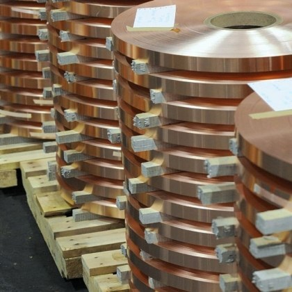 "Hussey Copper LLC Rolls of copper strip product at Hussey Copper LLC, in Leetsdale. The .003 inch copper strip is used to wrap ""high voltage"" cable wiring."