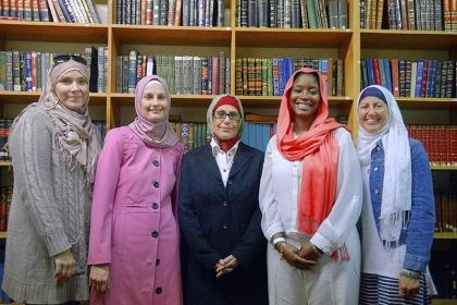 Islamic Center of Pittsburgh From left, Orenda Dadkhah of West Mifflin, Lauren Simmons of Beechview, Julie Webb of Squirrel Hill, Tara Bailey of Sheridan and Kathleen Sciortino of Crafton stand inside the Islamic Center of Pittsburgh in Oakland on Wednesday.
