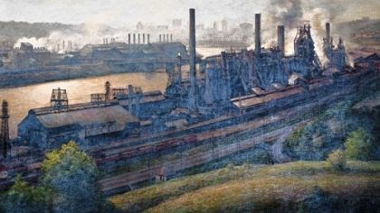 """J&L Steel Mill"" by John Shryock ""J&L Steel Mill,"" an oil on canvas by John Shryock, 1974."