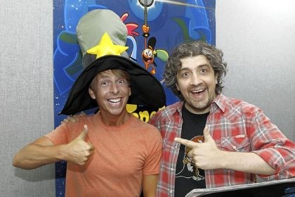 "Jack McBrayer and Craig McCracken ""Wander Over Yonder"" creator and executive producer Craig McCracken, right, with series star Jack McBrayer."