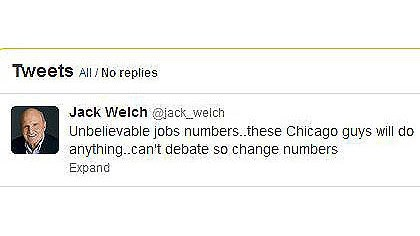Jack welch tweets A screen grab of Jack Welch's tweet about the jobless numbers.