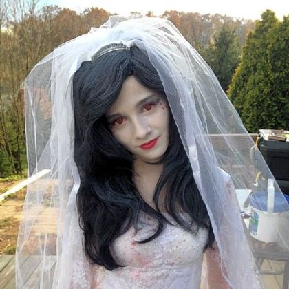 "Jackie Evancho 2 Jackie Evancho in a ""ghost bride"" Halloween costume she wore last weekend at a Halloween party."