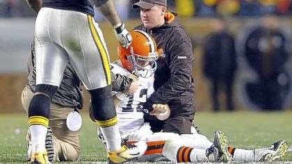 James Harrison Browns quarterback Colt McCoy is attended to after taking a hit from James Harrison.