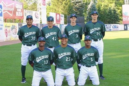 Jamestown Jammers The contingent of foreign players on the roster of the Pirates' Class A team in Jamestown, N.Y., this summer: Front row from left, Yhonathan Barrios (Colombia), Harold Ramirez (Colombia) and Elvis Escobar (Venezuela). Back row from left, Roberto Espinsosa (Mexico), Jin-De Jhang (Tawain), Jackson Lodge (Australia) and Dovydas Neverauskas (Lithuania).