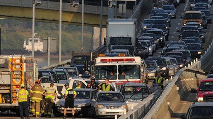 Jammed Traffic is at a halt Thursday morning after a multi-vehicle crash shut down the eastbound lanes of the Parkway East near the Grant Street ramp.