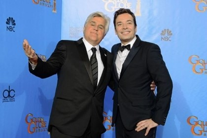"Jay Leno and Jimmy Fallon Jay Leno, host of ""The Tonight Show With Jay Leno,"" left, joins Jimmy Fallon, host of ""Late Night With Jimmy Fallon"" backstage at the Golden Globe Awards in January. Speculation is swirling that NBC is taking steps to replace Leno with Fallon as host of ""Tonight"" next year and move the show from Burbank, Calif., to New York."