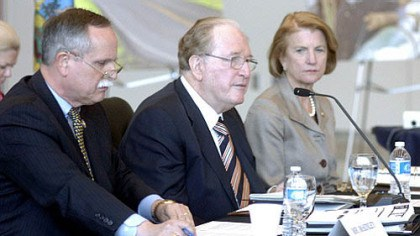Jay Rockefeller Sen. Jay Rockefeller, D-W.Va., center, speaks Wednesday at a hearing of the U.S. Senate Committee on Commerce, Science and Transportation in Fairmont, W.Va. With him are Reps. Shelley Moore Capito (right) and David McKinley, both Republicans from West Virginia.