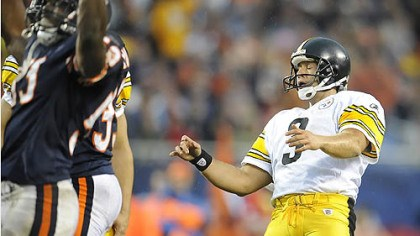 Jeff Reed reacts Jeff Reed reacts as he misses his second field goal of the game against the Bears.