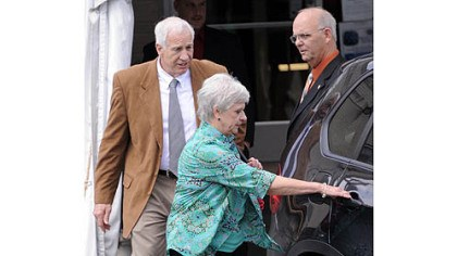jerry and wife deliberations day Jerry Sandusky and his wife, Dottie, leave the Centre County Courthouse after the jury deliberating his case heard testimony from witness Mike McQueary read to them in open court at their request Friday morning.