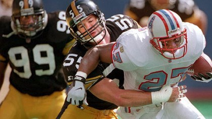 Jerry Olsavsky Former Steelers linebacker Jerry Olsavsky tackles former Houston Oilers running back Eddie George in 1996 at Three Rivers Stadium. Olsavsky was hired by the Steelers as linebackers coach.
