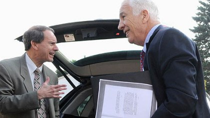 Jerry Sandusky Jerry Sandusky, right, and his lawyer, Joe Amendola, arrive at the Centre County Courthouse Wednesday morning.