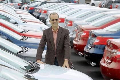 Jim Shorkey amid a sea of Suzukis Jim Shorkey amid a sea of Suzukis at his North Huntingdon dealership.