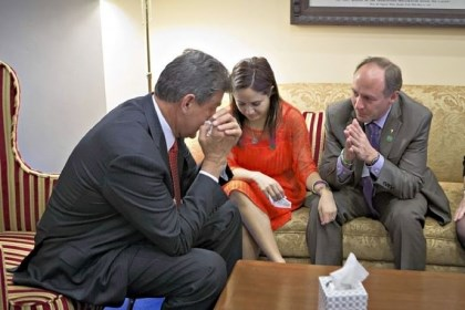 Joe Manchin becomes emotional Sen. Joe Manchin, D-W.Va., left, becomes emotional Wednesday as he meets in his office with families of victims of the Sandy Hook Elementary School shooting in Newtown, Conn., including Nelba Marquez-Greene, mother of victim Ana Marquez-Greene, and Mark Barden, father of victim Daniel Barden. Mr. Manchin announced that he reached a bipartisan deal on expanding background checks to more gun buyers.