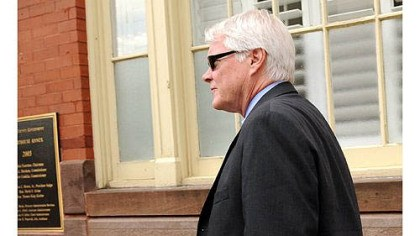 Joe McGettigan Prosecutor Joe McGettigan leaves the Centre County Courthouse Annex in Bellefonte, Pa., Tuesday. Jerry Sandusky attended a closed-door meeting with the judge in his child sexual abuse case.
