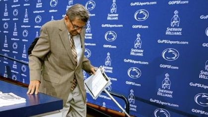 Joe Paterno Coach Joe Paterno steps down from the stage after announcing at his weekly news conference that the Nittany Lions would stay with a two-quarterback system Saturday against Temple.