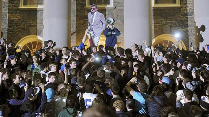 Joe Paterno Penn State students gather after the announcement that Joe Paterno would no longer be head coach of Penn State Football to call for him to be allowed to coach one final game.