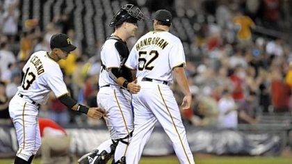 Joel Hanrahan The Pirates' Ronny Cedeno and Chris Snyder congratulate Joel Hanrahan after beating the Marlins, 7-1, Aug. 16 at PNC Park.