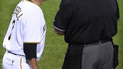 "John Russell argues a ""no call"" Pirates manager John Russell argues a no call when Nyger Morgan got hit by a pitch and home plate umpire Jerry Layne called it a strike in the 6th inning,June 25, 2009."