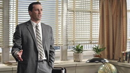 "Jon Hamm Actor Jon Hamm portrays Don Draper, the creative director of the Sterling Cooper Advertising Agency, in the AMC dramatic series ""Mad Men."" Hamm yesterday won the Golden Globe for Best Performance by an Actor In A Television Series Drama for his role."