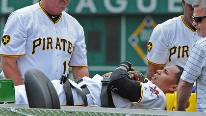 Jose Tabata Pirates manager Clint Hurdle helps injured player Jose Tabata onto a stretcher.