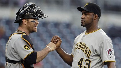 Jose Veras and Ryan Doumit Catcher Ryan Doumit fist-bumps reliever Jose Veras after Veras survived a rocky ninth inning Wednesday at Petco Park.