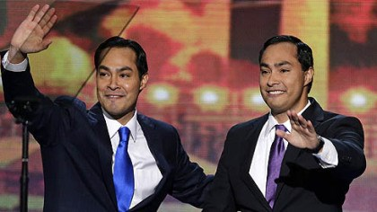 Julian Castro San Antonio Mayor Julian Castro, left, and his brother Joaquin Castro wave to the Democratic National Convention in Charlotte, N.C.