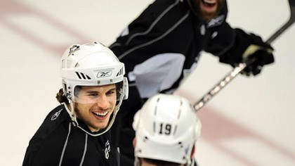 Just jokin' If he was worried after losing Game 1, Penguins center Sidney Crosby didn't show it yesterday at practice as he jokes with Ryan Whitney, in foreground, and Pascal Dupuis.