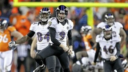 JustinTucker Baltimore Ravens kicker Justin Tucker reacts after hitting the winning field goal against the Denver Broncos in overtime Saturday.