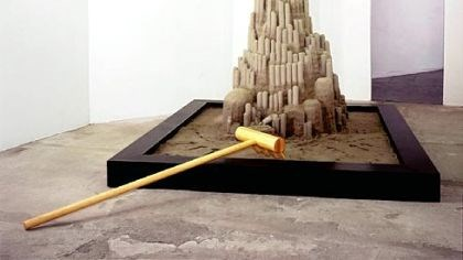 "Kaino 2 Entropy and the shifting fates of civilizations may be some of the conversation topics inspired by Glenn Kaino's ""Desktop Operation: There's No Place Like Home (10th example of Rapid Dominance: Em City)."" Kaino constructed the 14-foot-high sand castle at the Warhol in early May."