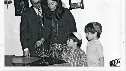 Kancigor family, Hanukkah 1970 Cookbook author Judy Bart Kancigor, her husband, Barry, and sons Brad, left, and Stu on the first night of Hanukkah, 1970.