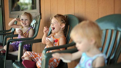 Kerber Dairy in Irwin From left, Jessa Adkins, 4, of Manor, Lorelei Berger, 4, of Irwin, and Ava Adkins, 1, of Manor enjoy ice cream at Kerber's Dairy in Irwin. At any given time, Kerber's has about 40 flavors for sale.