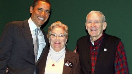 Klines with Obama Former Lt. Gov. Ernest Kline stands with his wife, Josephine, and President Barack Obama.