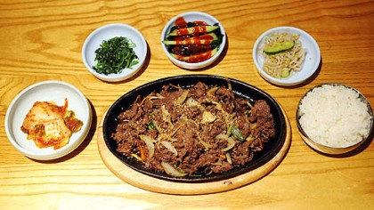 Korea Garden 1 Bulgogi, thinly sliced beef marinated in light soy sauce, is a specialty of the house at the Korea Garden in Oakand.