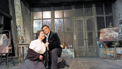 """La Boheme"" Pamela Armstrong, as Mimi, and Frank Lopardo, as Rodolfo, rehearse for the Pittsburgh Opera's production of ""La Boheme."""