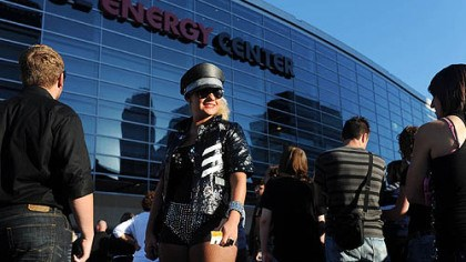 Lady Gaga fan 1 Ashley Karpa of Bethel Park waits in line to enter the Consol Energy Center for the Lady Gaga concert Sunday.