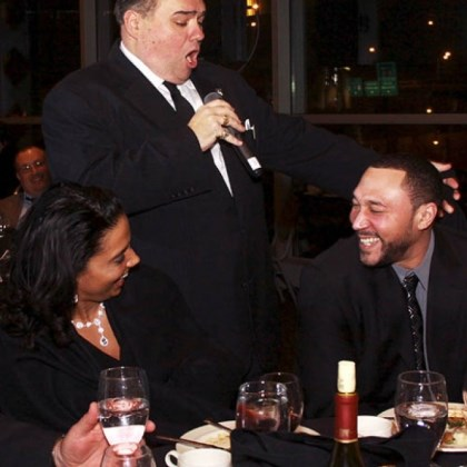 Latasha Batch, Dominic Mantuso and Charlie Batch Latasha Batch looks on as Dominic Mantuso of The Three Waiters serenades Charlie Batch.