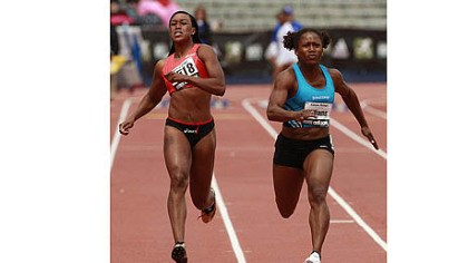 Lauryn Williams Lauryn Williams, right, gets past Stephanie Durst to win the women's 100-meter dash at the Kansas Relays last month in Lawrence, Kan.