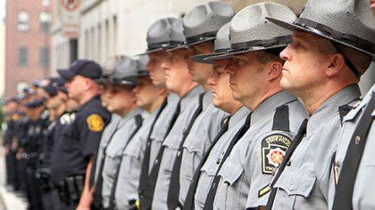 Law enforcement Law enforcement officers from around the region were on hand for the start of Richard Poplawski's trial.