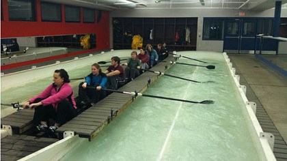 learn to row During the Learn to Row and Paddle event, participants get a feel for the sport in the indoor rowing tanks at Three Rivers Rowing's Millvale Facility.