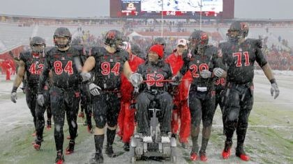 LeGrand EMOTIONAL KNIGHT Former Rutgers player Eric LeGrand (52), paralyzed in a game against Army last season, led the Scarlet Knights onto the field at Rutgers before a game Saturday against West Virginia.