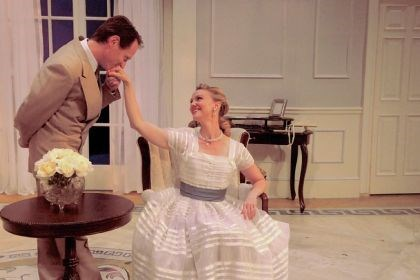 "Leo Marks and Jodi Gage Leo Marks portrays Lord Windermere and Jodi Gage is Lady Windermere in Pittsburgh Irish & Classical Theatre's ""Lady Windermere's Fan."""