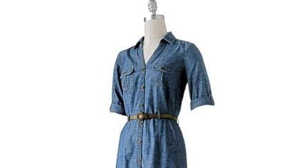 Level 1: A denim dress Level 1: To start wearing more denim, begin with a single piece, such as a shirt dress.