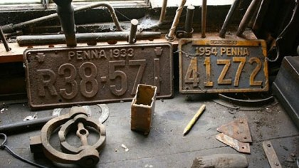 License plates Old Pennsylvania license plates at the W.A. Young & Sons Foundry and Machine Shop in Rices Landing, Greene County.