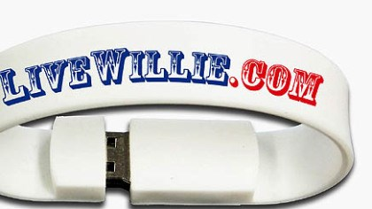 Live Willie USB bracelet A tad more downscale is this drive bracelet containing a live Willie Nelson concert, available for sale as soon as the concert is over.