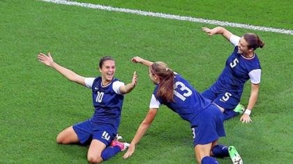lloyd Carli Lloyd #10 of United States celebrates her first half goal with teammates Alex Morgan #13 and Kelley O'Hara #5 against Japan during the soccer gold medal match.